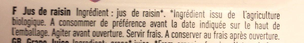 Pur jus de Raisins - 原材料 - fr