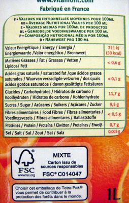 Pur jus d'oranges pressée bio Vitamont - Voedigswaarden