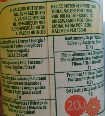 Nectar abricot de france - Informations nutritionnelles