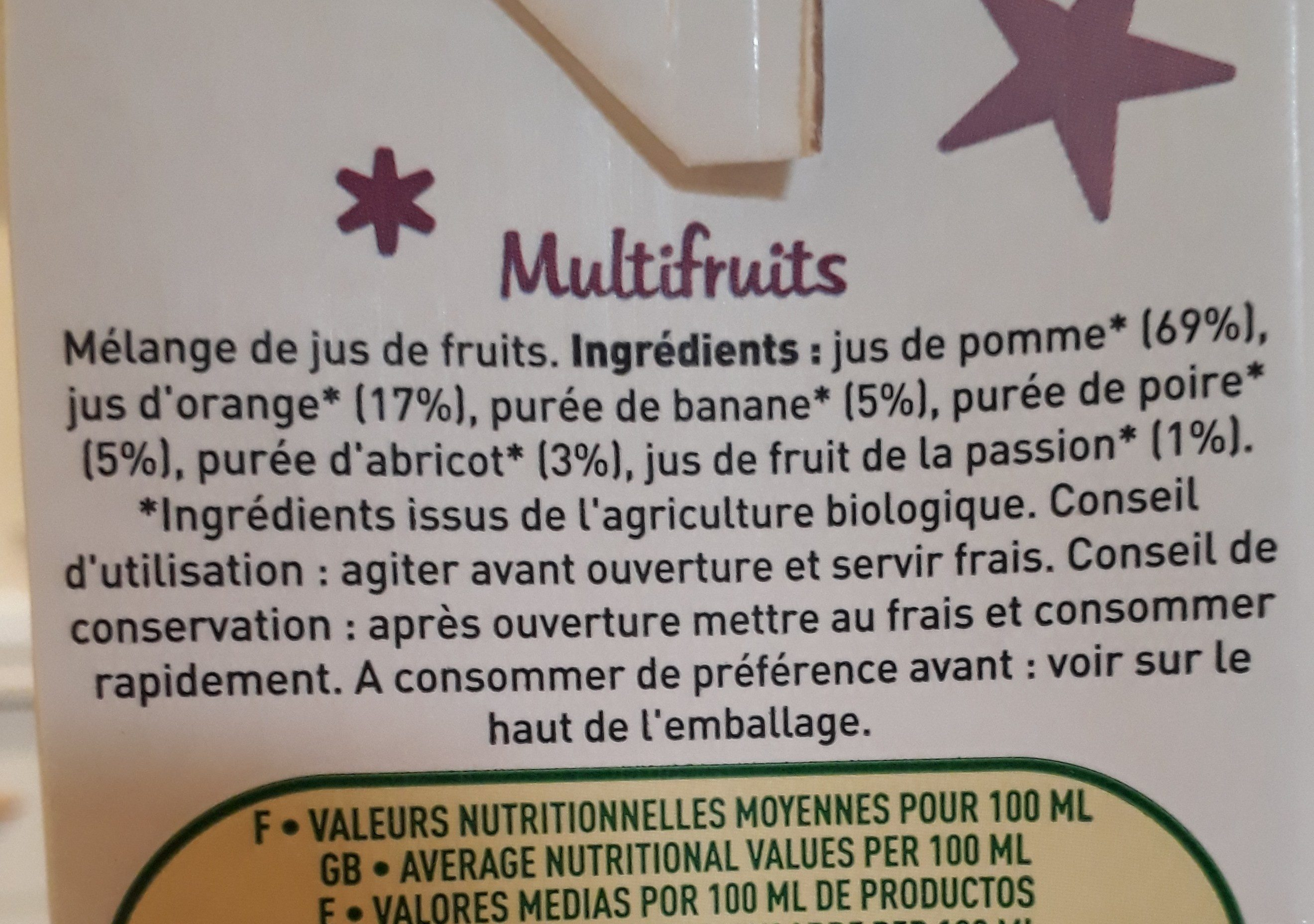 Cocktail multifruits - Ingrédients