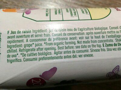 JUS DE RAISINS RGES - Ingredienti - fr