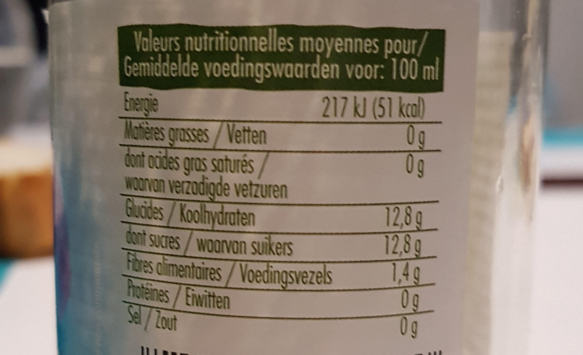 Jus de Pruneaux - Informations nutritionnelles - fr