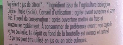 Mini pur jus de citron bio - Ingredienti - fr