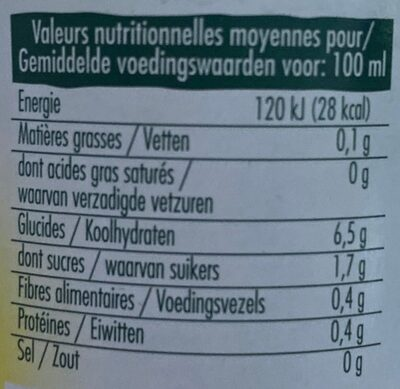 Mini pur jus de citron bio - Valori nutrizionali - fr