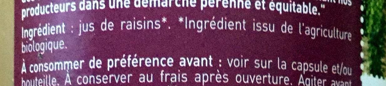 100% pur jus raisin biologique - Ingrédients - fr
