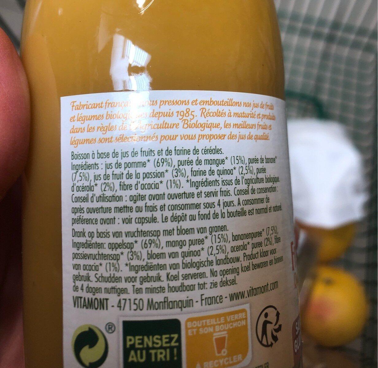Smoothie fruit et cereale quinoa mangue passion - Ingrédients
