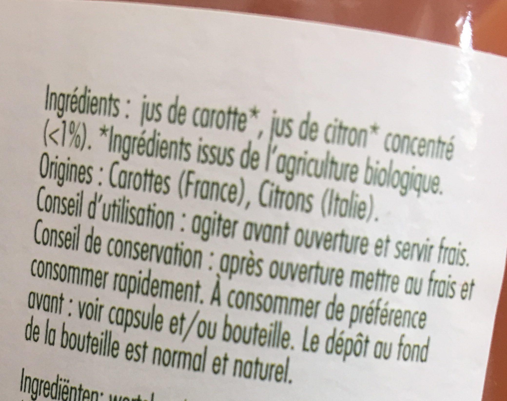 Jus de Carottes Biologiques - Inhaltsstoffe - fr