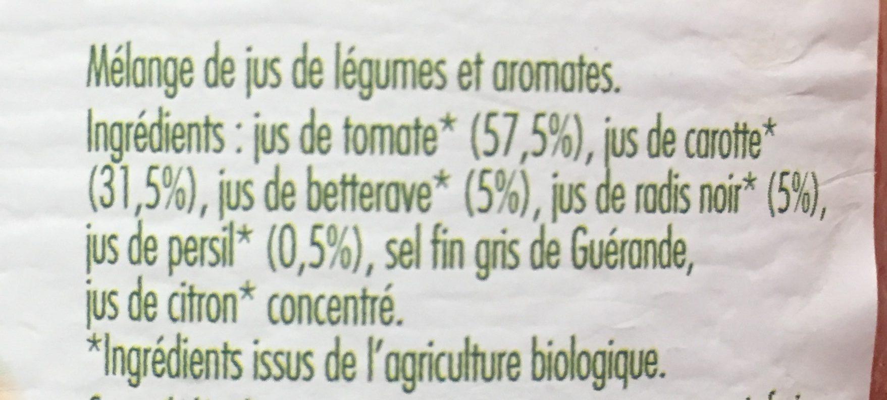 Jus de légumes biologiques - Ingrédients - fr