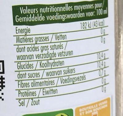 Jus de clémentine - Informations nutritionnelles
