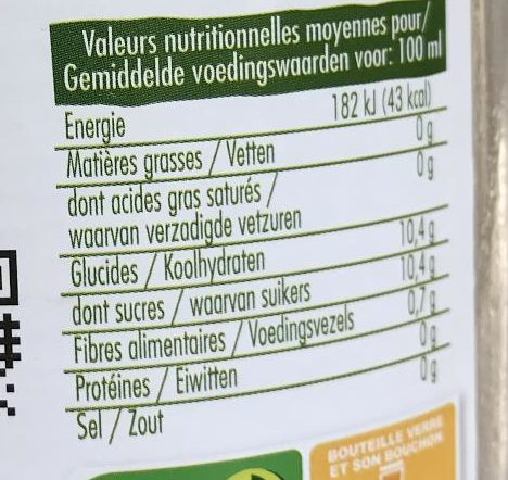 Jus de clémentine - Informations nutritionnelles - fr