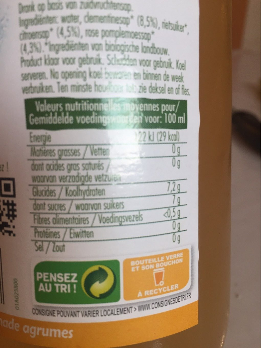 Citronnade Jus Agrume - Nutrition facts