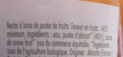 Nectar D'abricot Au Sirop D'agave - Ingrédients