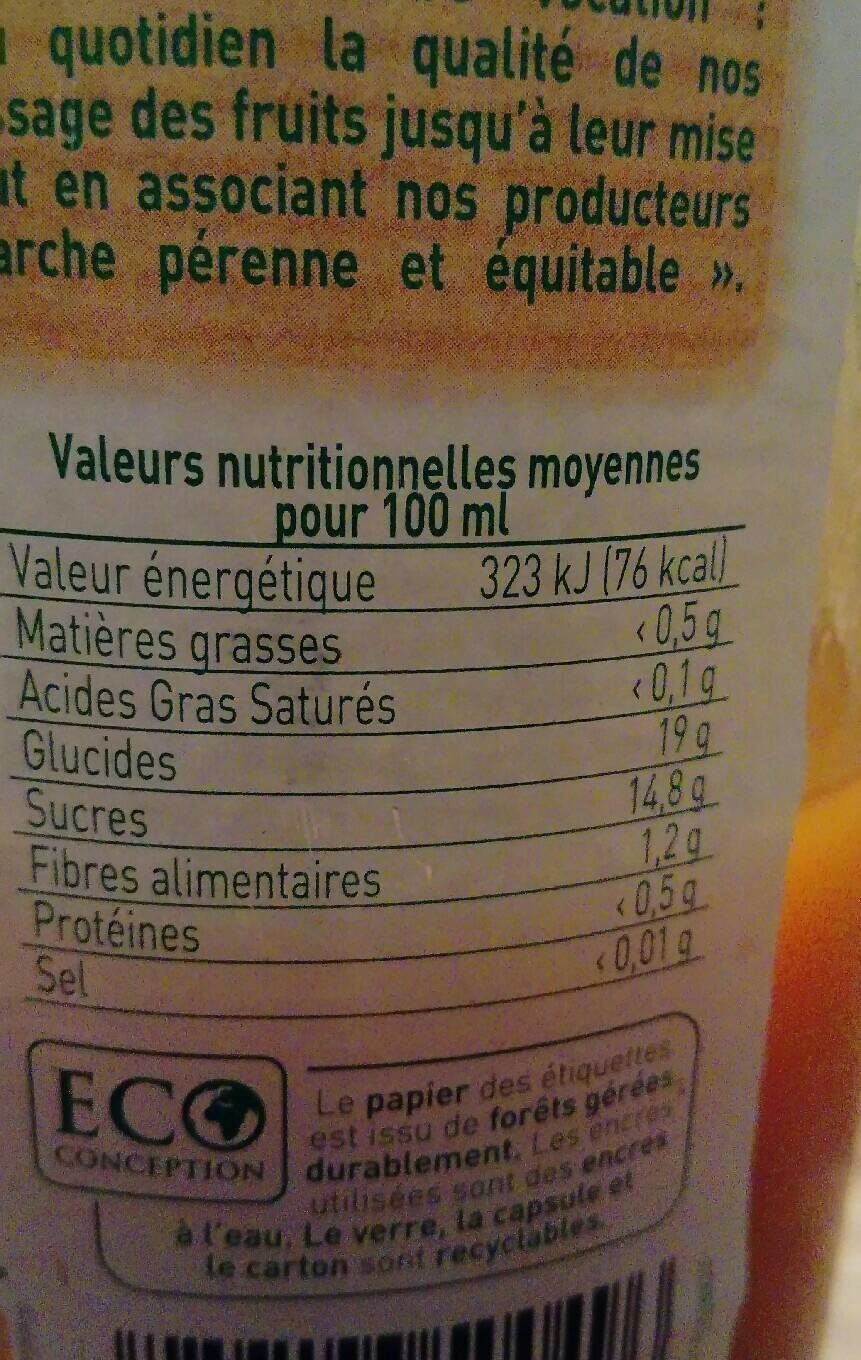 Nectar D'abricot Au Sirop D'agave - Informations nutritionnelles