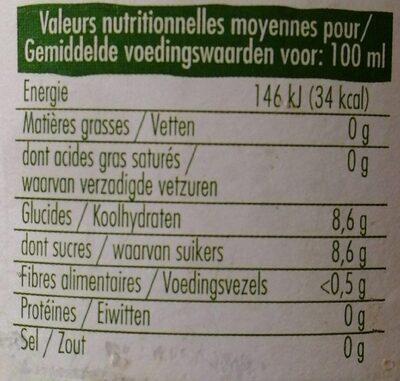 Pur jus d'orange de Grèce bio - Valori nutrizionali