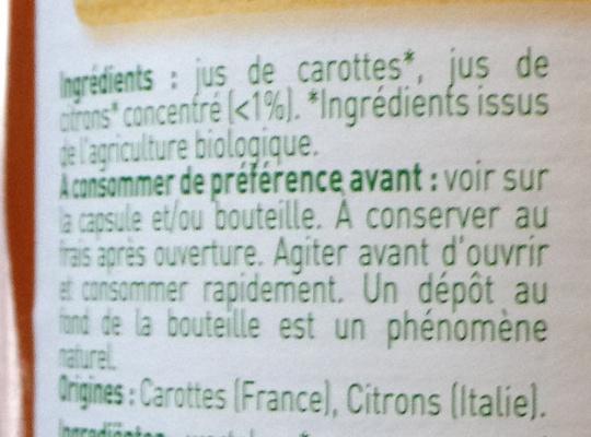 Jus de carottes biologiques - Ingrédients - fr
