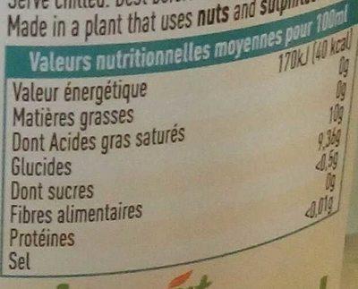 Limonade bio d'antan - Informations nutritionnelles