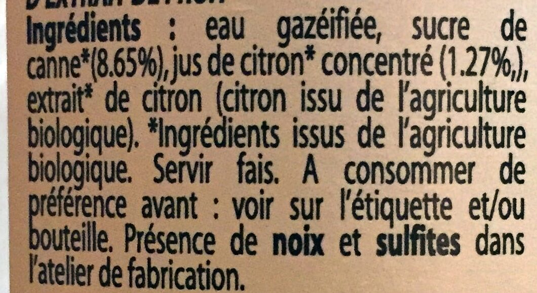 Limonade Bio d'Antan - Ingrediënten - fr