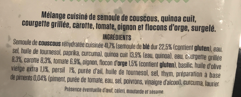 Poêlée céréales & quinoa cuisinés aux petits légumes - Ingrédients - fr