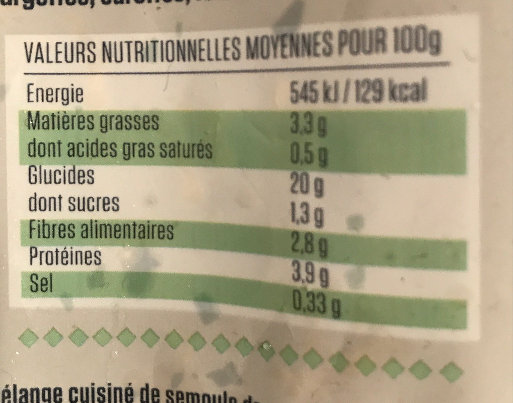 Poêlée céréales & quinoa cuisinés aux petits légumes - Informations nutritionnelles - fr