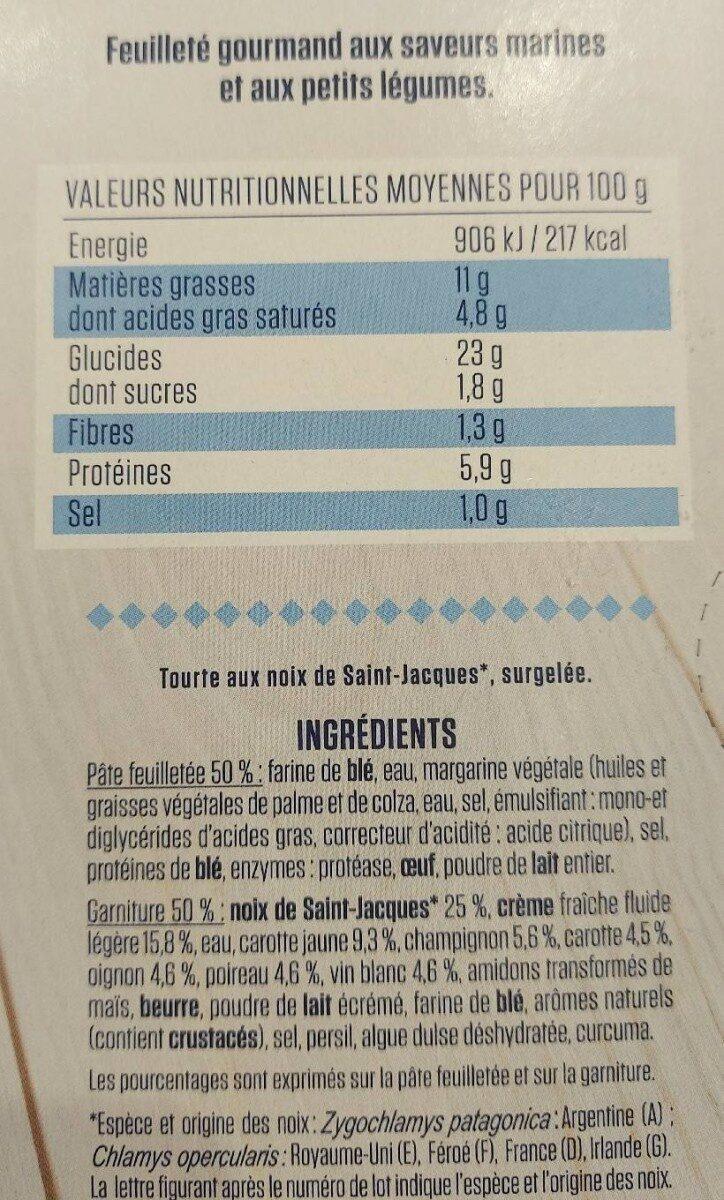 Tourte aux Noix de Saint Jacques - Informations nutritionnelles - fr