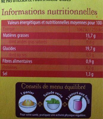 LA COMPAGNIE ARTIQUE PANIERS FEUILLETES LEERDAMMER ET JAMBON 4X80G - Informations nutritionnelles