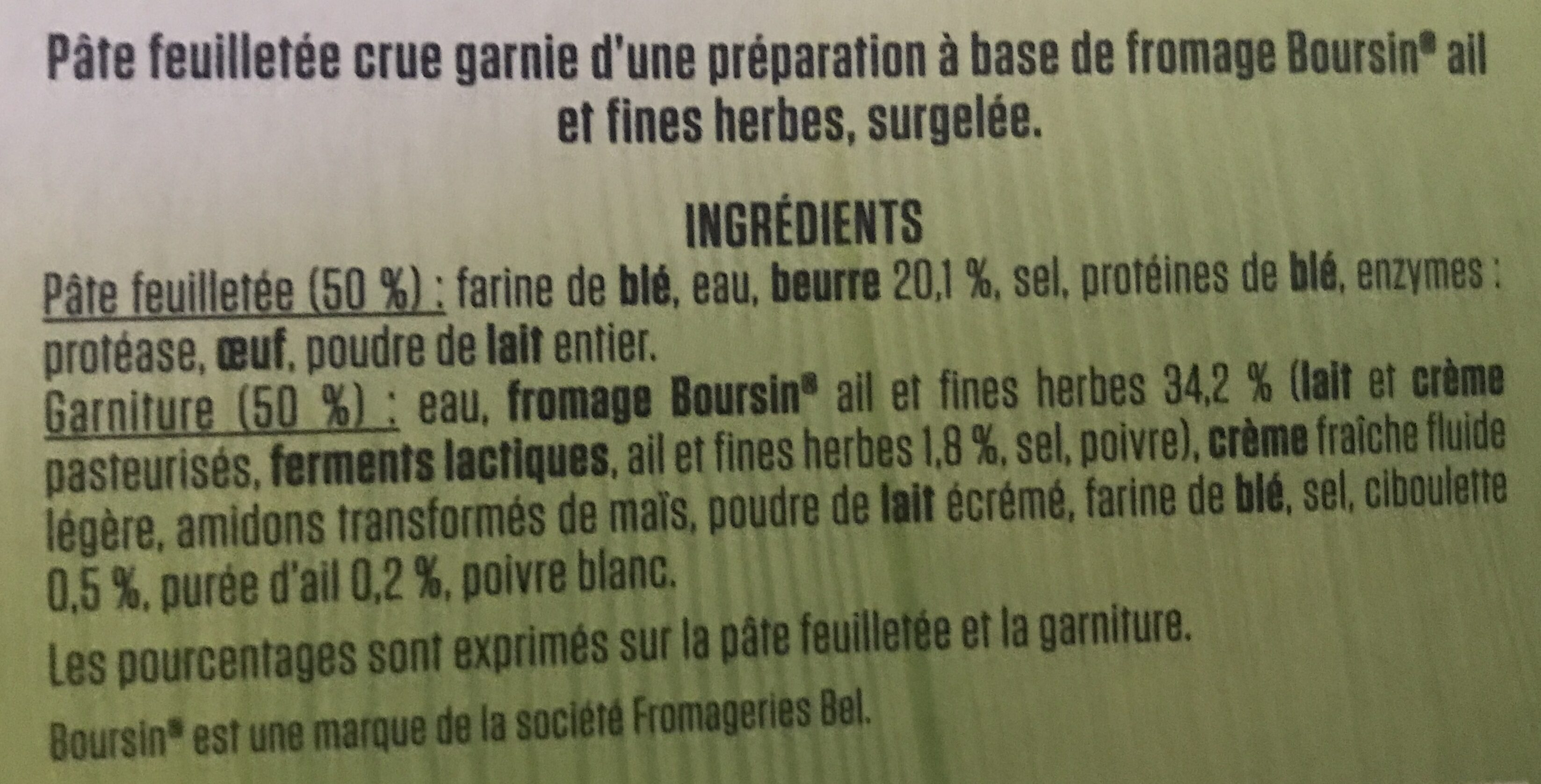 Feuilletés au Fromage Boursin - Ingrédients