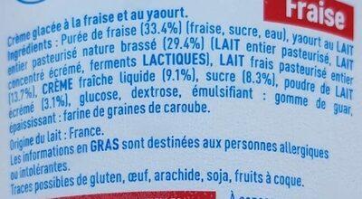 Crème glacée au yaourt a la fraise - Ingrediënten - fr