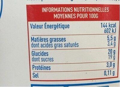 Crème glacée au yaourt a la fraise - Voedingswaarden - fr