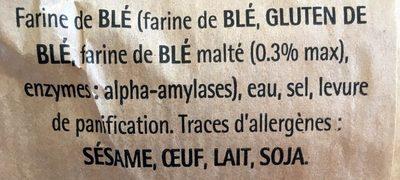Baguette de tradition francaise - Ingredienti - fr