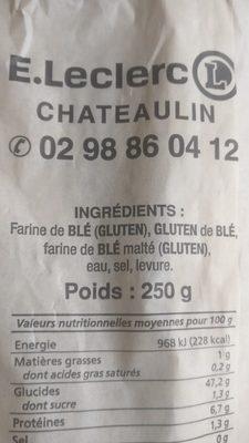 Baguette tradition - Ingrediënten