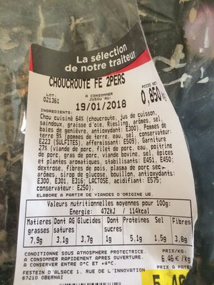 Choucroute - Ingrédients - fr
