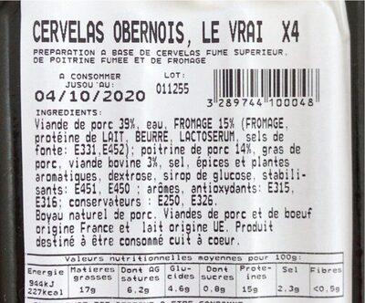 Cervelas Obernous - Informations nutritionnelles - fr