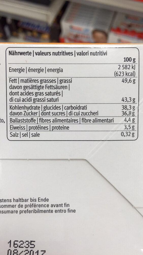 Confiserie de luxe fantaisie - Nutrition facts