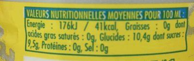 Cot citron - Valori nutrizionali - fr