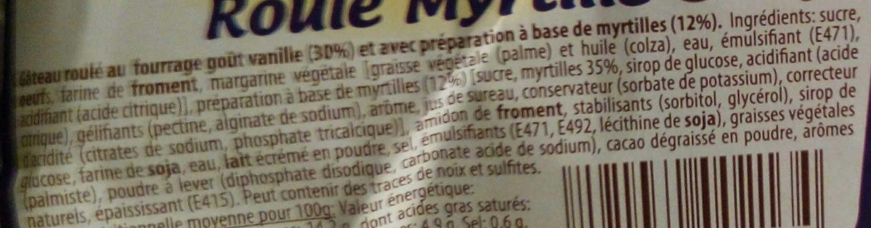 Roulé Myrtille - Ingrédients - fr