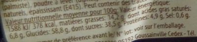 Roulé Myrtille - Informations nutritionnelles