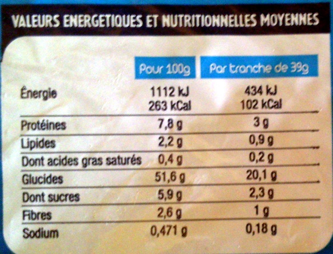 Pain de Mie Sandwich nature Longue Conservation (14 tranches) - Voedingswaarden - fr