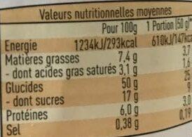 Tresse pépites de chocolat - Nutrition facts