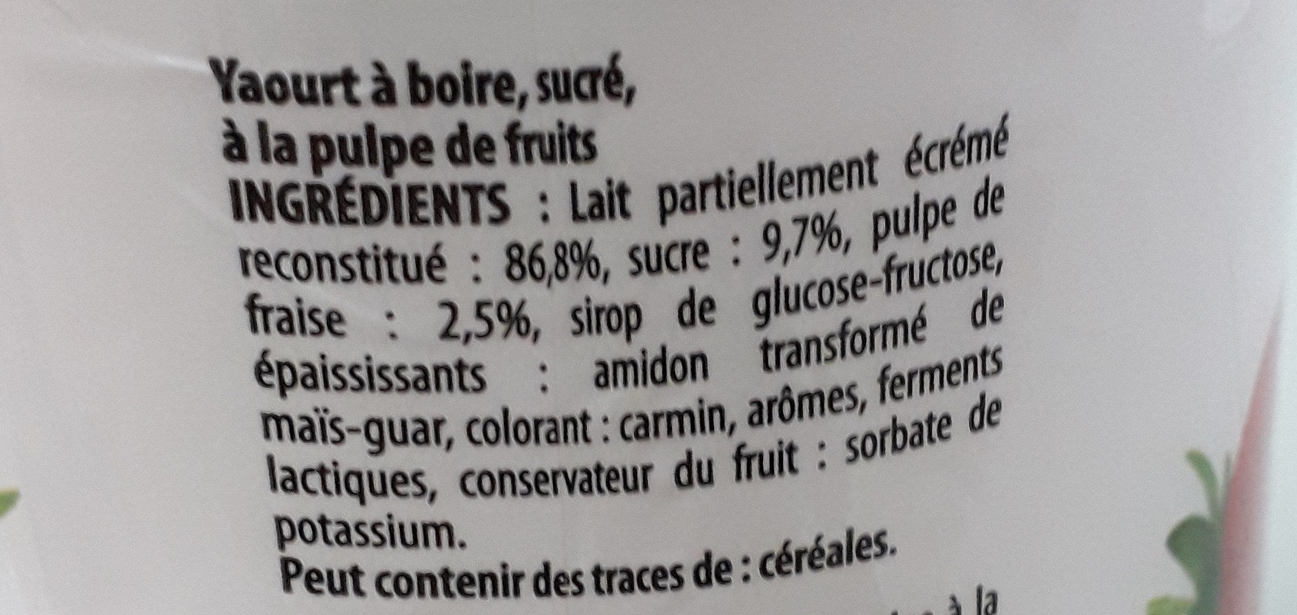 Yaourt a boire fraise - Ingrédients - fr