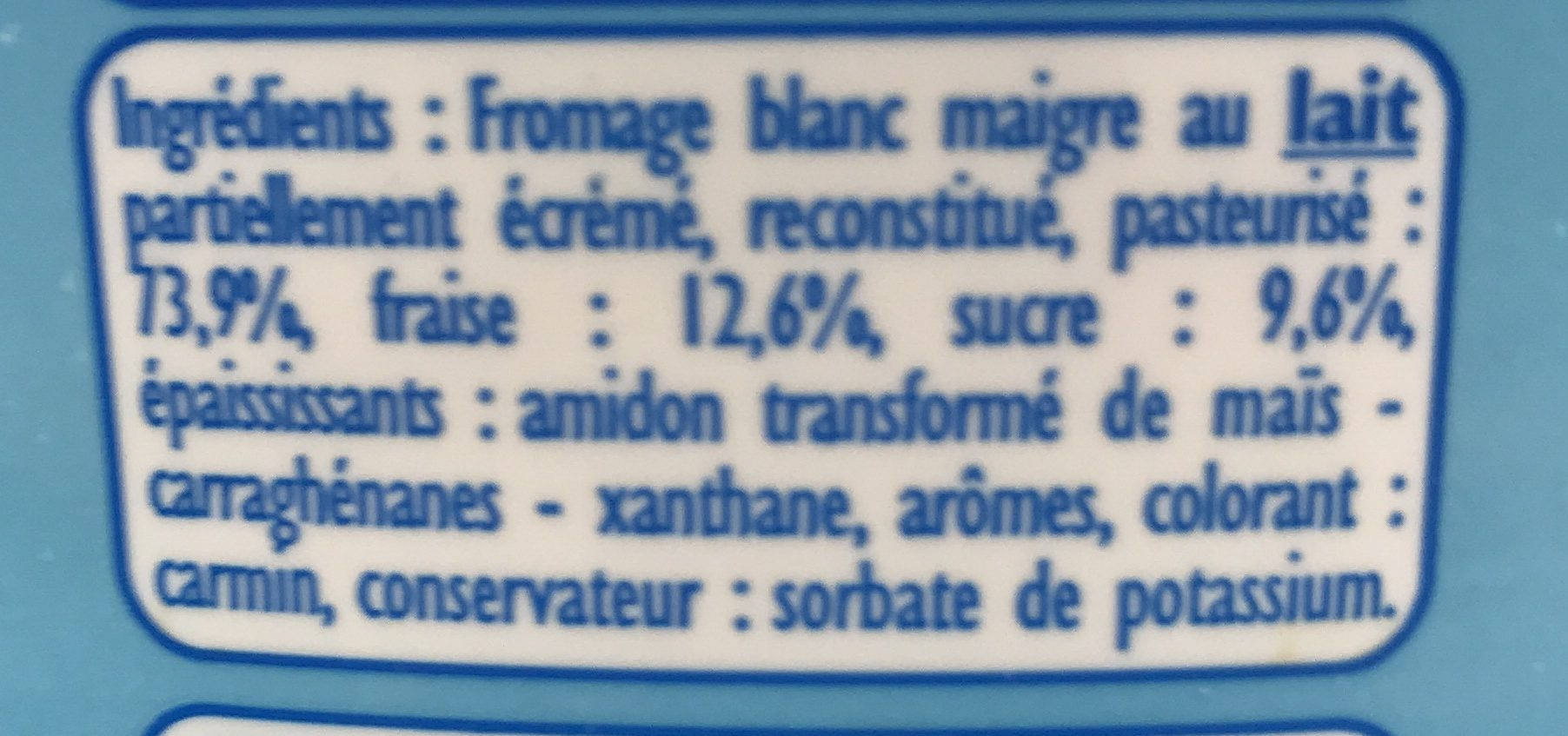 Fromage blanc maigre sucré Fraise - Ingredients - fr