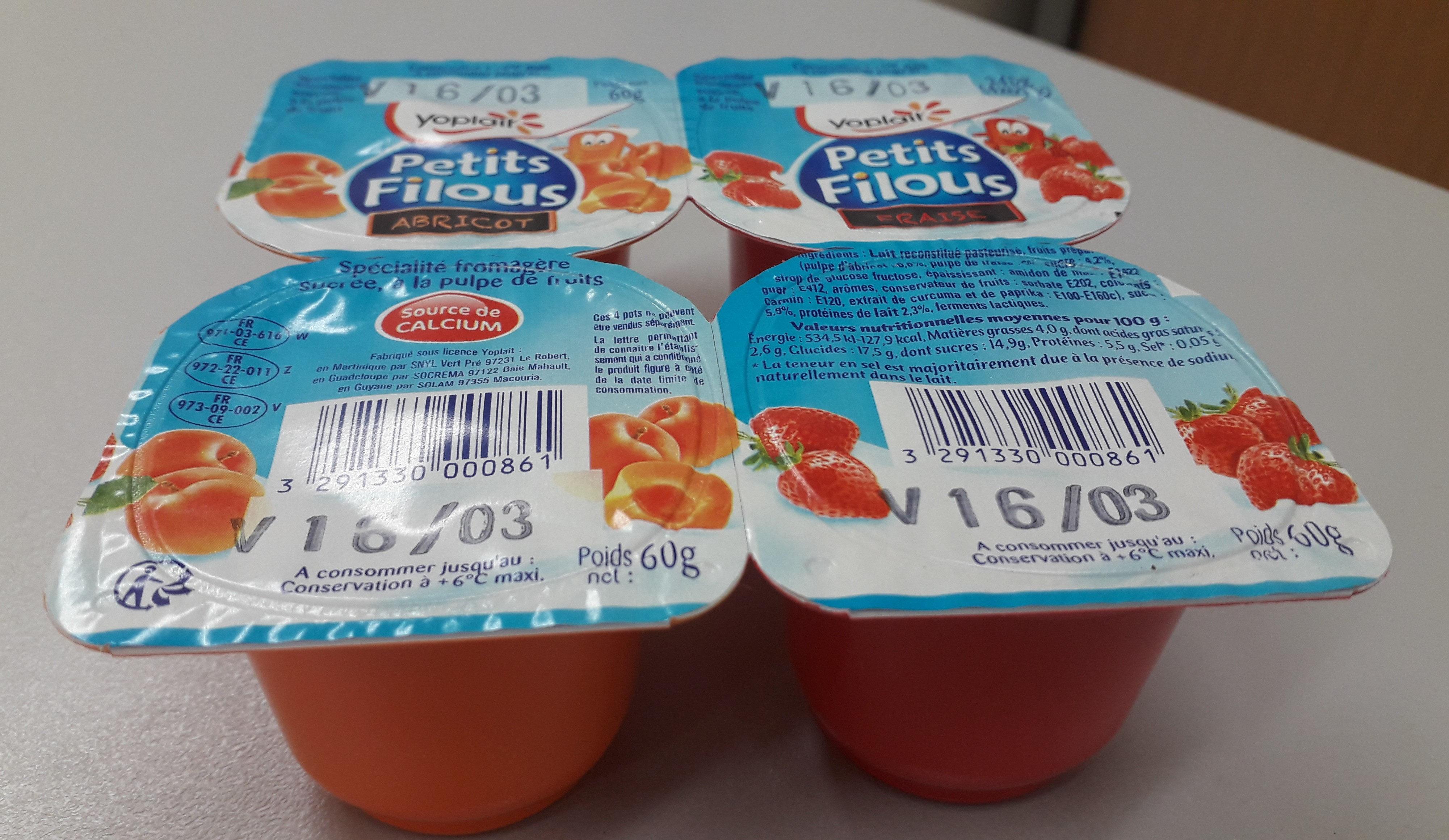 Petit Filous Fraise / Abricot 60gx8 - Prodotto - fr