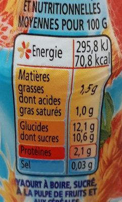 Yop - Valori nutrizionali - fr