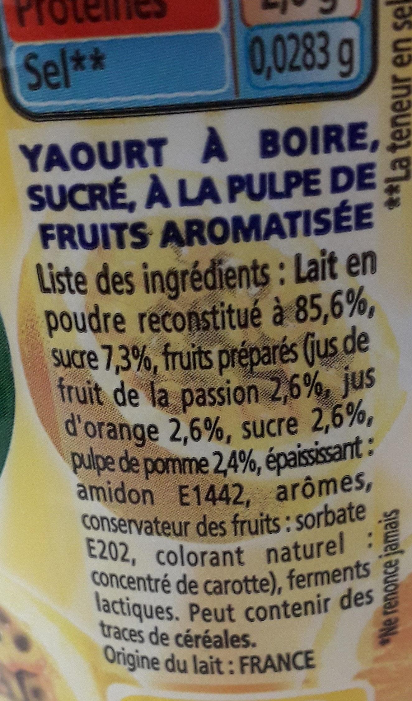 Yop orange passion - Ingrédients - fr
