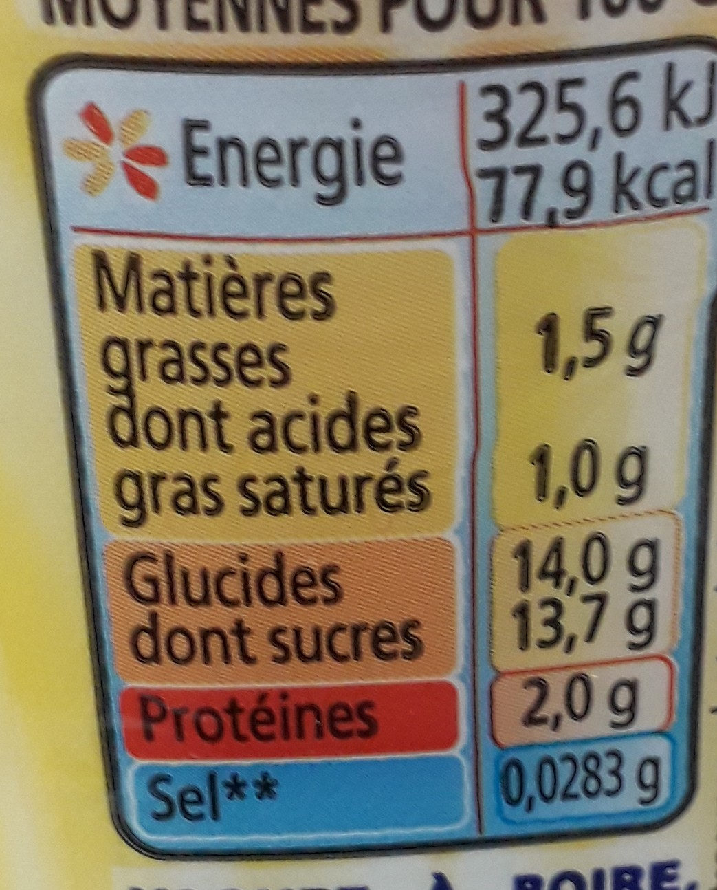 Yop orange passion - Informations nutritionnelles - fr