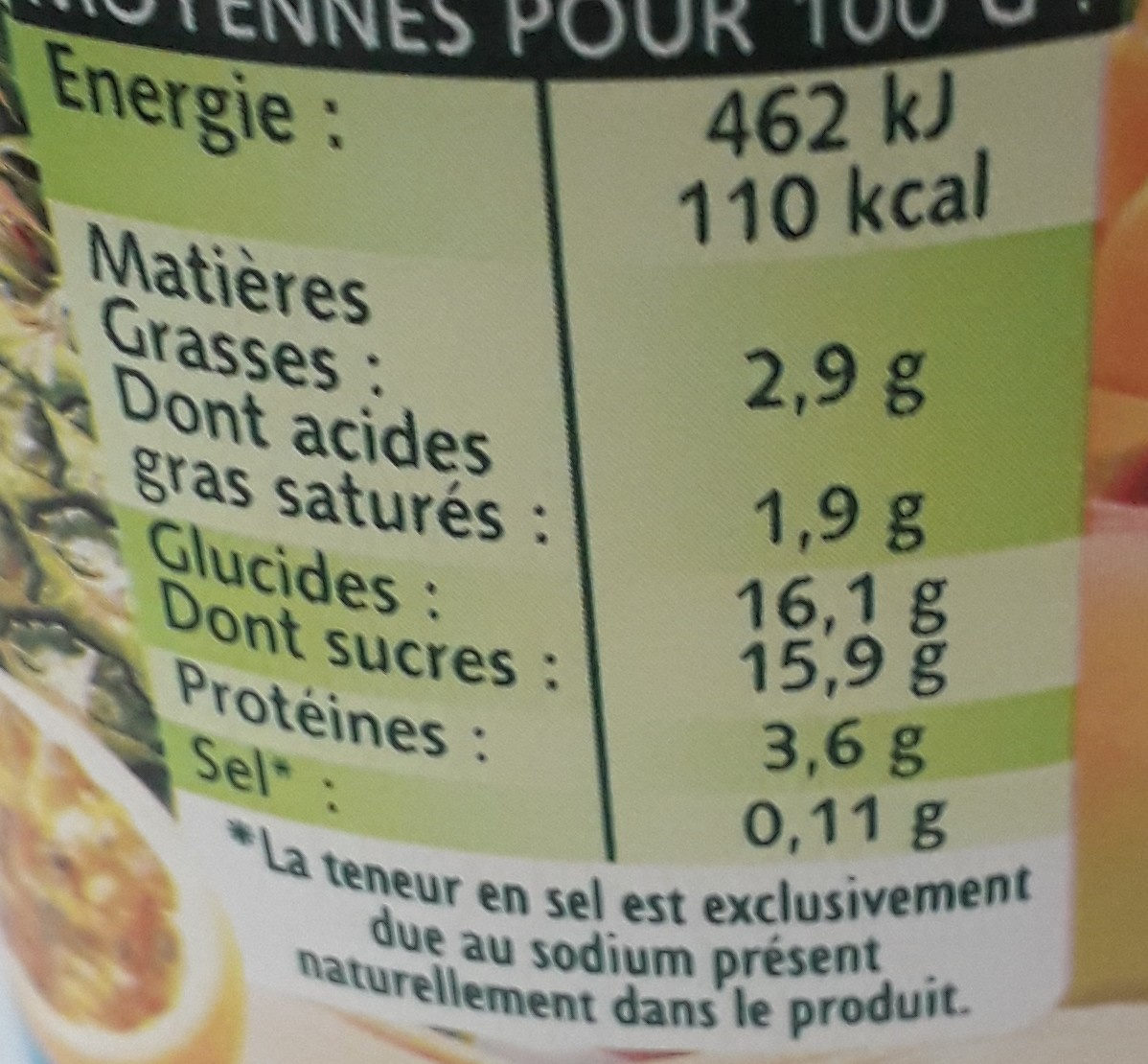 Panier tropical - Informations nutritionnelles - fr