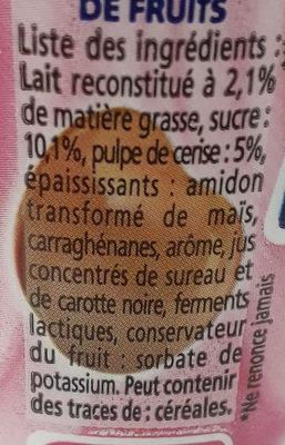 Yaourt à boire à la pulpe de cerise Yop - Ingrediënten - fr