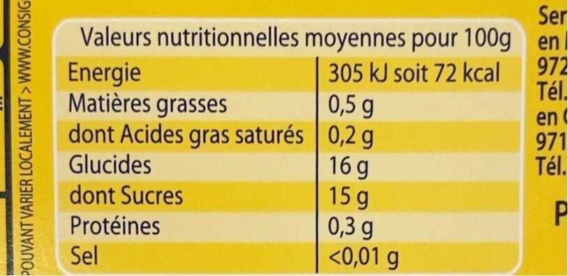 Compote pomme ananas - Nutrition facts - fr