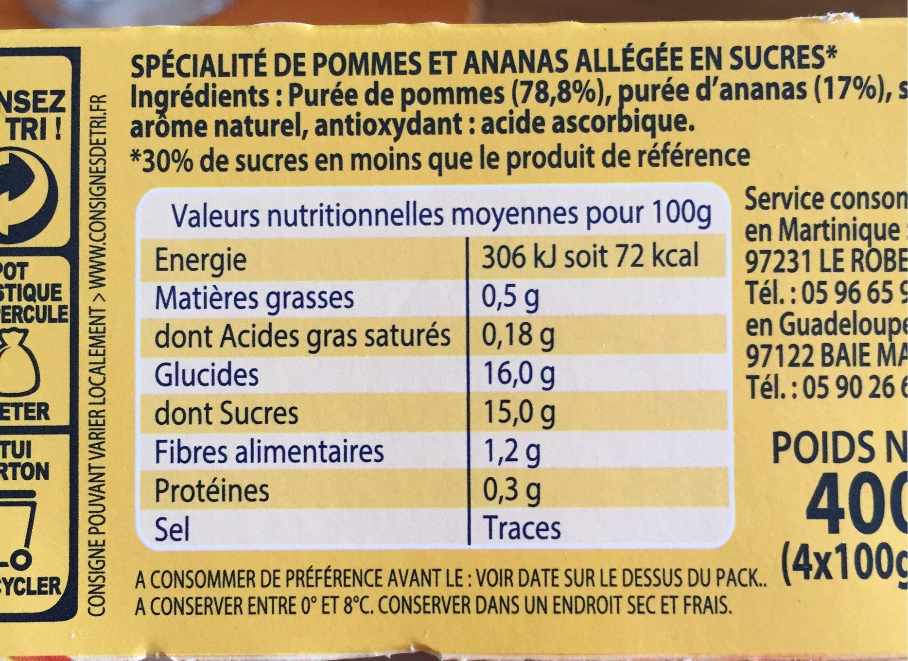 Compote pomme ananas - Informations nutritionnelles