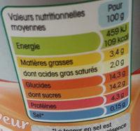 b de yoplait fruits jaunes - Nutrition facts