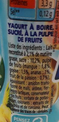 Yaourts à boire à la pulpe de fruits Yop tropical - Ingredienti - fr